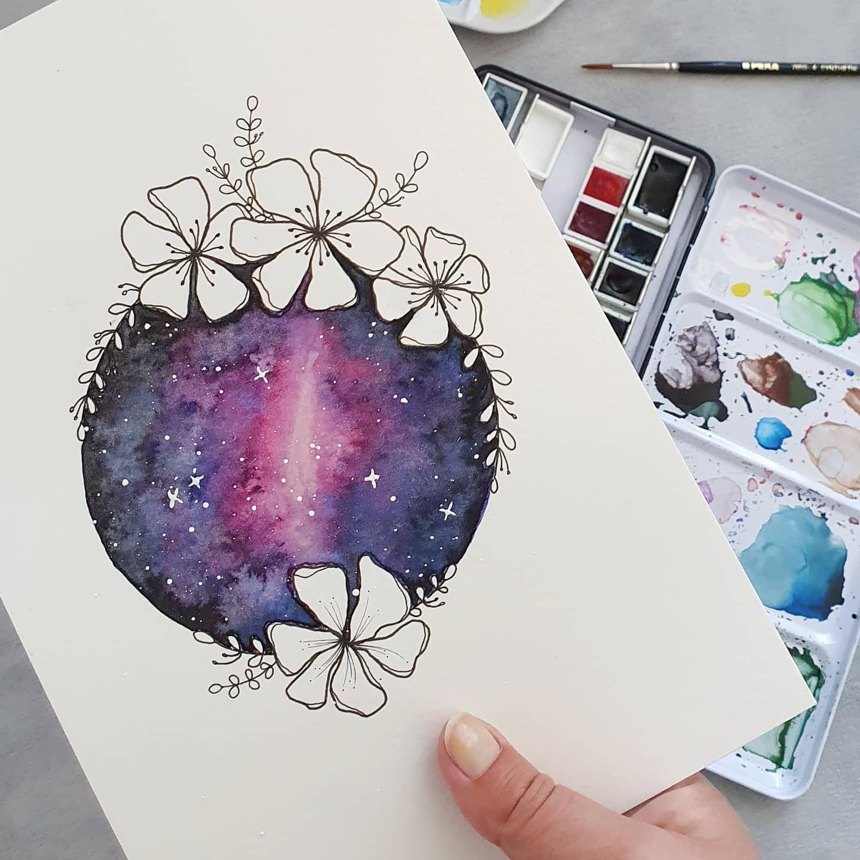 Aquarell Galaxie In 2020 Galaxie Aquarell Kreative Bilder Aquarell