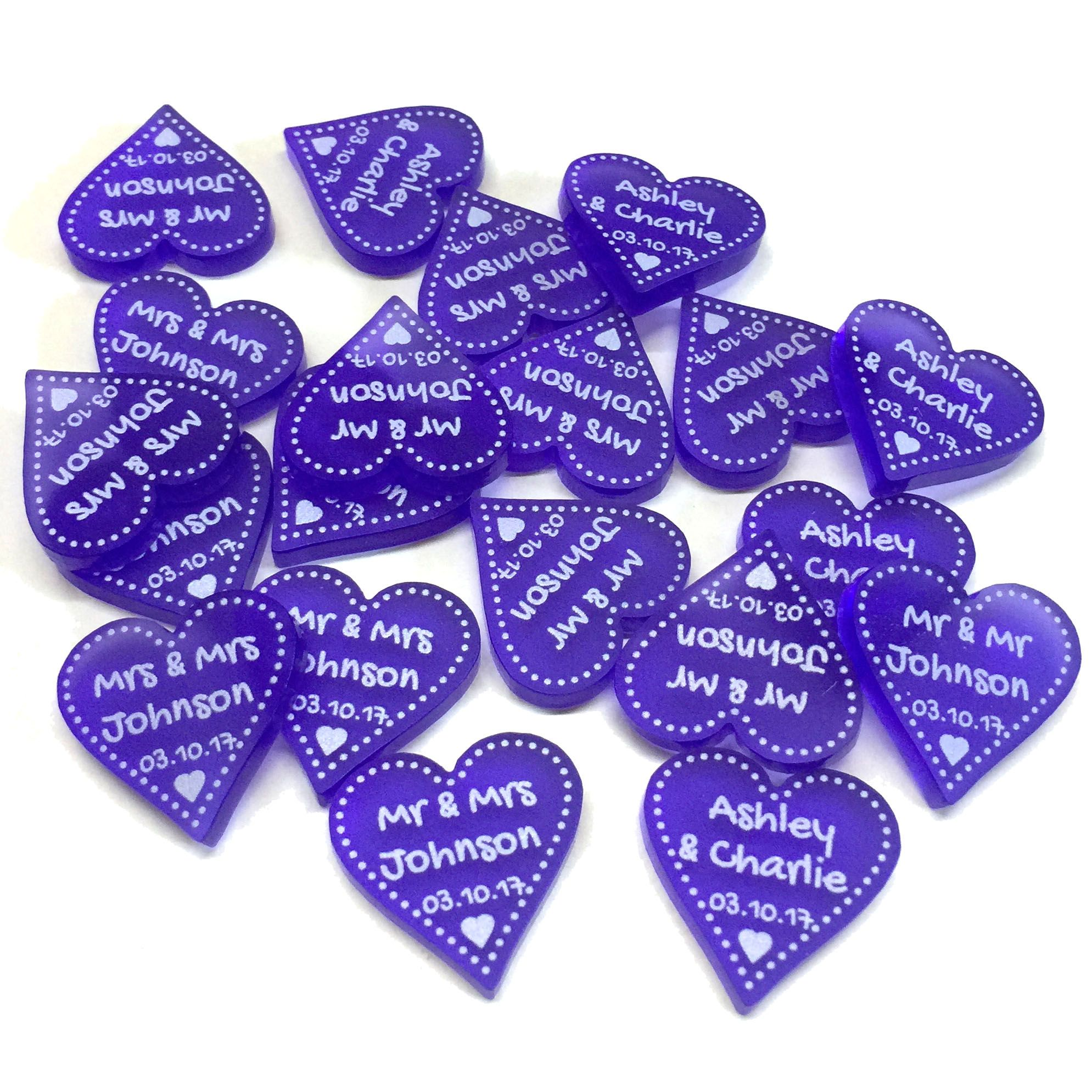Personalised Love Hearts Wedding Favours Table Centrepiece Decorations Mr /& Mrs