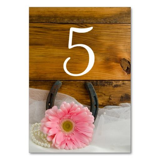 Pink Daisy Horseshoe Country Wedding Table Numbers Table Cards