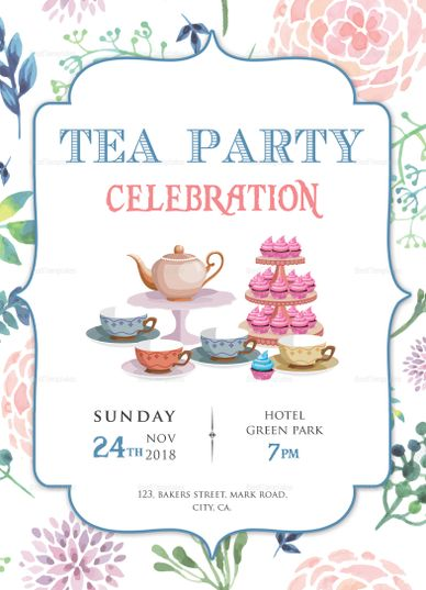 Elegant Tea Party Invitation Design Template  Invitation Card