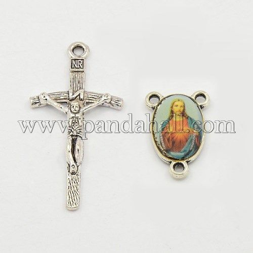 Rosary cross and center sets for rosary bead necklace alloy crucifix rosary cross and center sets for rosary bead necklace alloy crucifix cross pendants and oval aloadofball Image collections