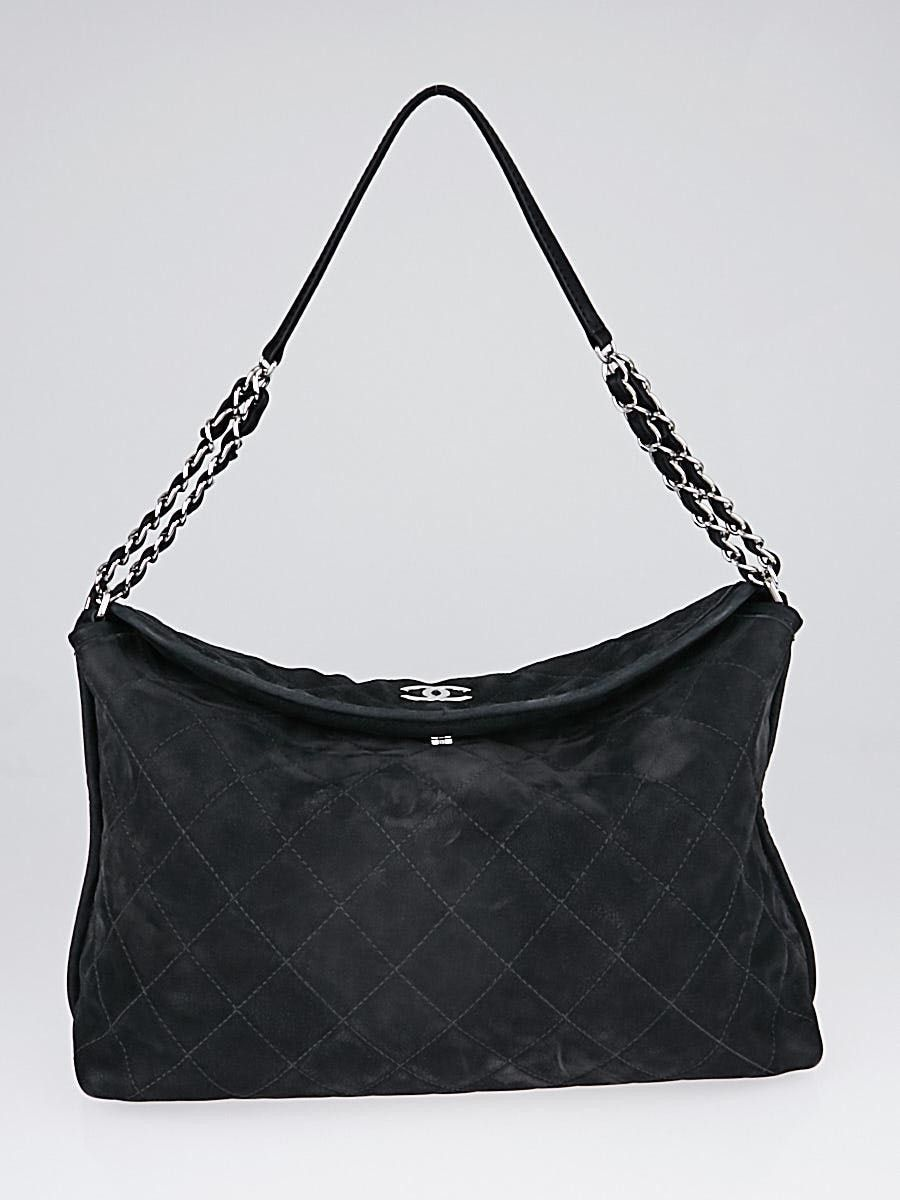 248634ae1c6 Chanel Black Quilted Suede French Riviera Hobo Shoulder Bag - Yoogi's Closet