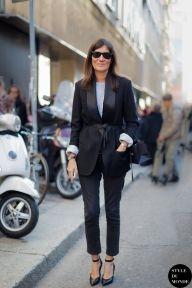 Emmanuelle Alt, Editor-in-Chief at Vogue Paris, after Dolce & Gabbana fashion show. Follow me on Instagram @styledumonde, Pinterest, Twitter, TumblrandFacebook
