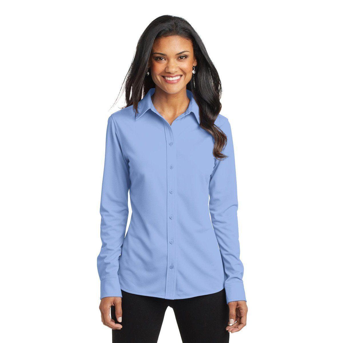 Port Authority Womens Dress Shirt Blue Dimension Knit Dress Shirt