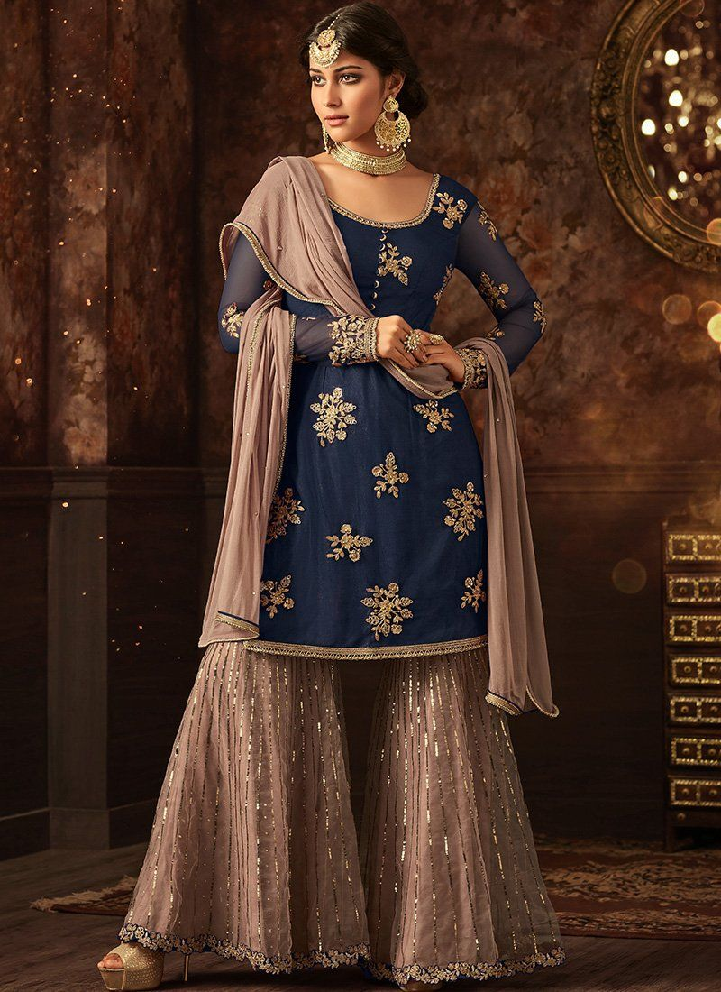 7ca88c154 Royal Blue and Mauve Grey Embroidered Net Sharara Suit | dresses in ...