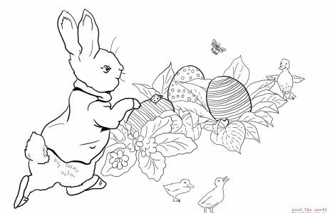 Peter Rabbit Easter Egg Hunt Coloring Online 3nter Peter Rabbit Illustration Rabbit Colors Peter Rabbit