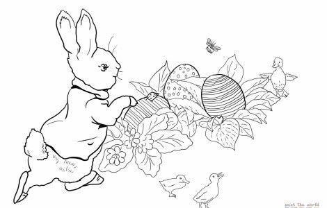 Peter Rabbit Easter Egg Hunt Coloring Online 3nter Peter Rabbit Illustration Rabbit Colors Peter Rabbit
