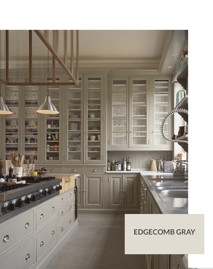 Benjamin moore edgecomb gray custom kitchen pinterest for Grey paint for kitchen cabinets