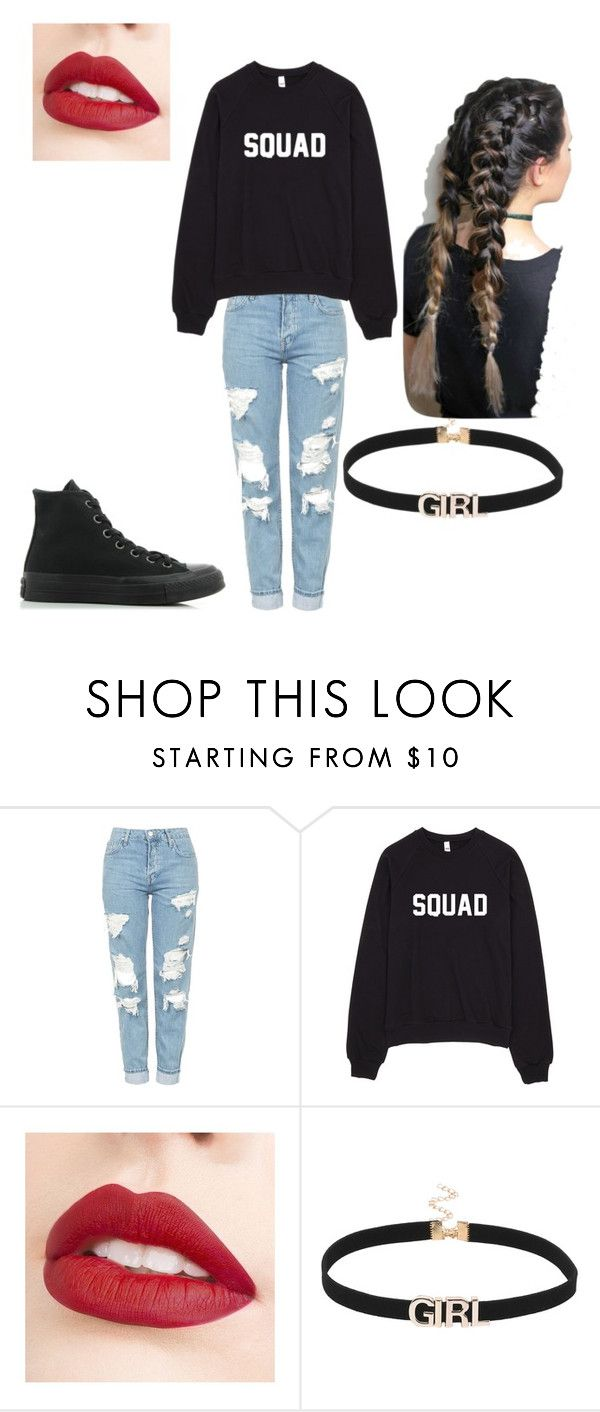 """""""LAZY DAY!"""" by carcamojessica ❤ liked on Polyvore featuring Topshop, Jouer and Converse"""