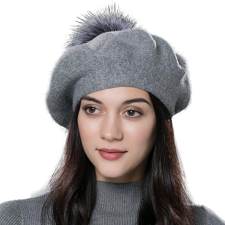 184a46ced Winter Wool Beret Hat Fox Fur Pom Pom Hat Womens Knit Beanie - Dark ...