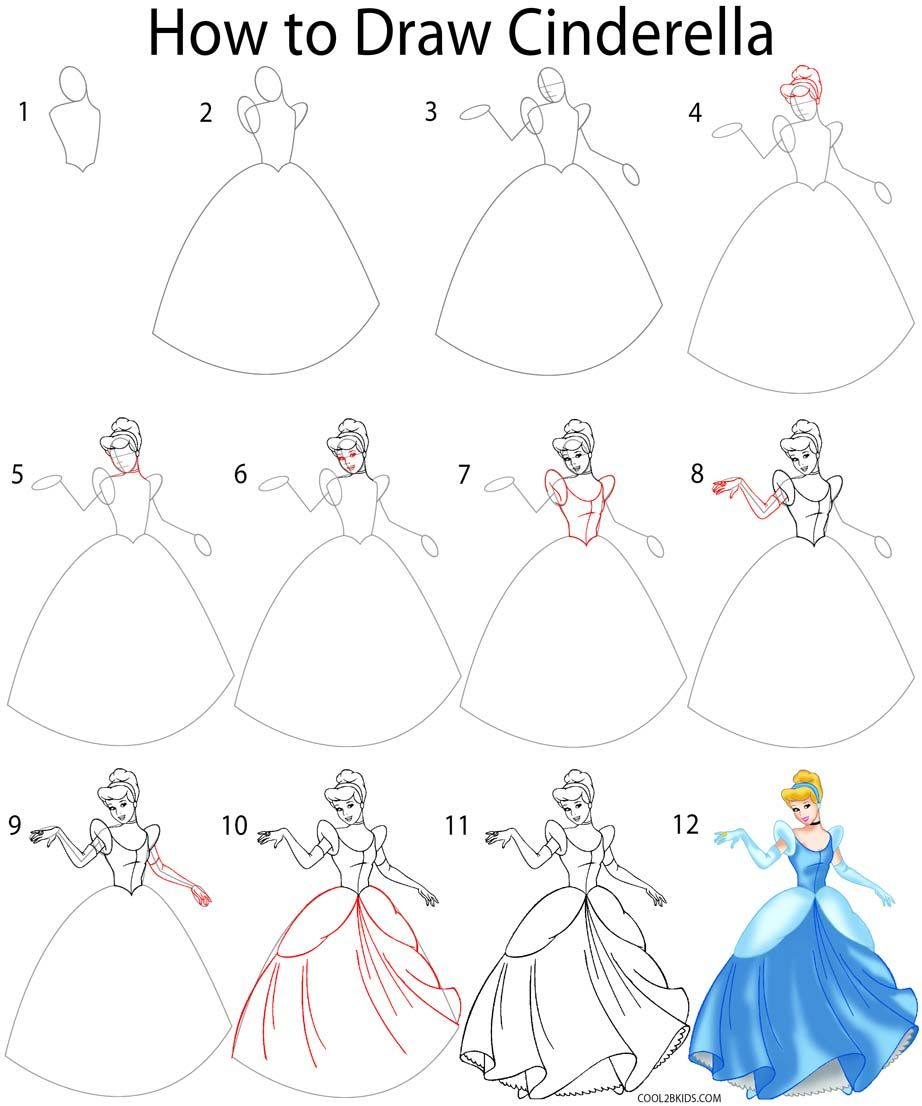 How To Draw Cinderella Step By Step Drawing Tutorial With Pictures