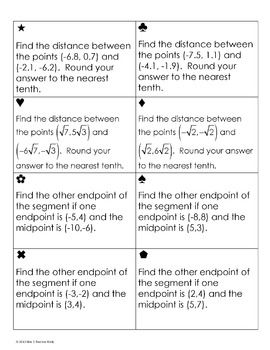 Distance And Midpoint Formula Sum Em Activity Midpoint Formula