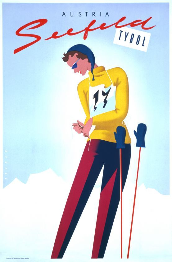 seefeld tyrol austria ski werbung plakat poster und. Black Bedroom Furniture Sets. Home Design Ideas