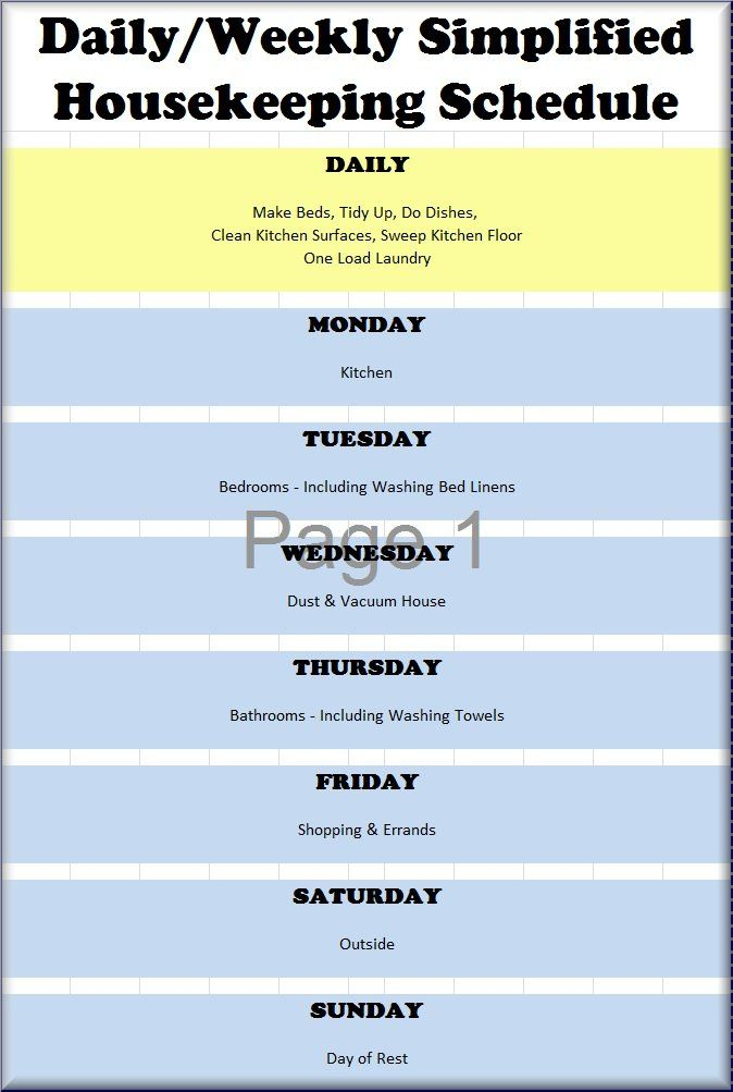 Daily  Weekly Cleaning Schedule Sunday Observance  Storage And