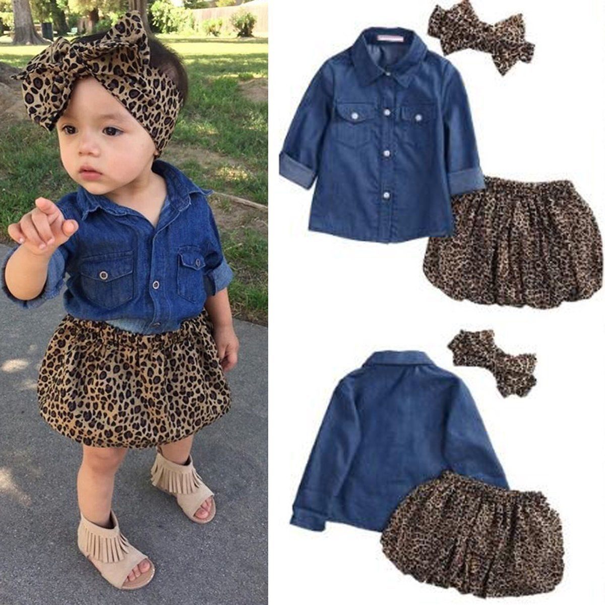4a5d7b2472  4.99 - Toddler Kids Baby Girls Denim T-Shirt Tops+Tutu Skirt Outfits  Clothes 3Pcs Set  ebay  Fashion