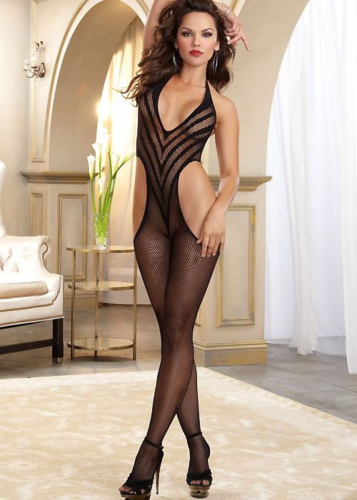 110a5e137d3 Dreamgirl Fishnet Halter Bodystocking With Opaque V