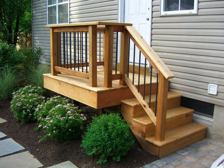 Small Back Deck With Steps Porch Shown Timbertech Twinfinish Decking In Cedar Timbertech Small Front Porches Designs Front Porch Design Porch Design