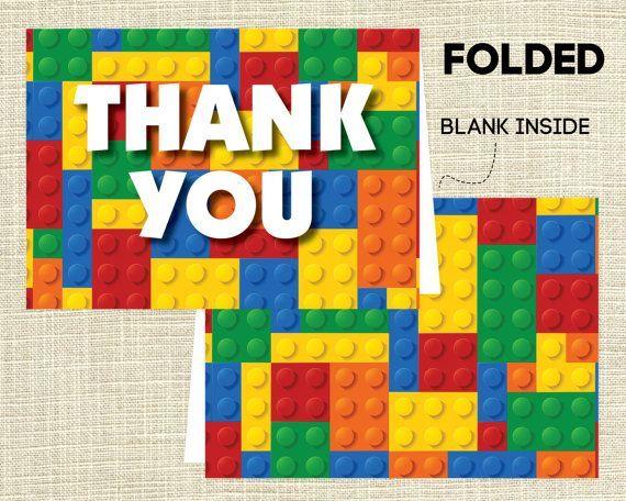 lego thank you cards Printable LEGO Birthday Party Thank You Notes