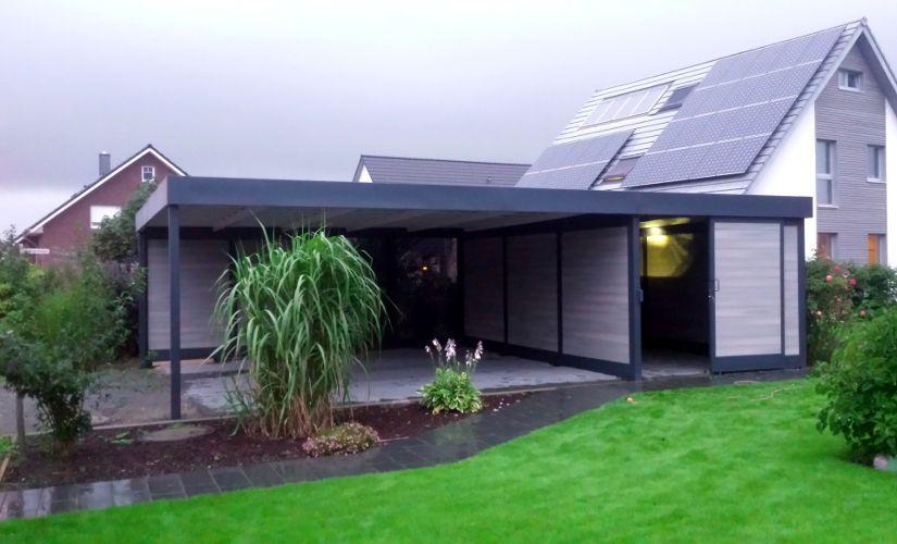 Garage mit carport und abstellraum  Doppelcarport Stahl mit Abstellraum WPC Felix Clercx | Garten ...