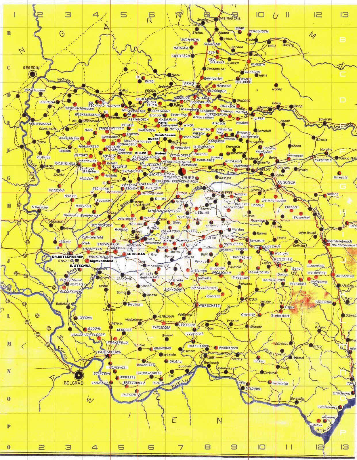 Banat Villages Donauschwaben Banaters Map Vintage World Maps Village