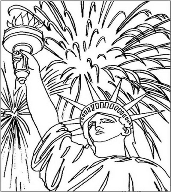 Statue Of Liberty Fireworks Coloring Page July Colors Coloring Pages Coloring Pages For Kids