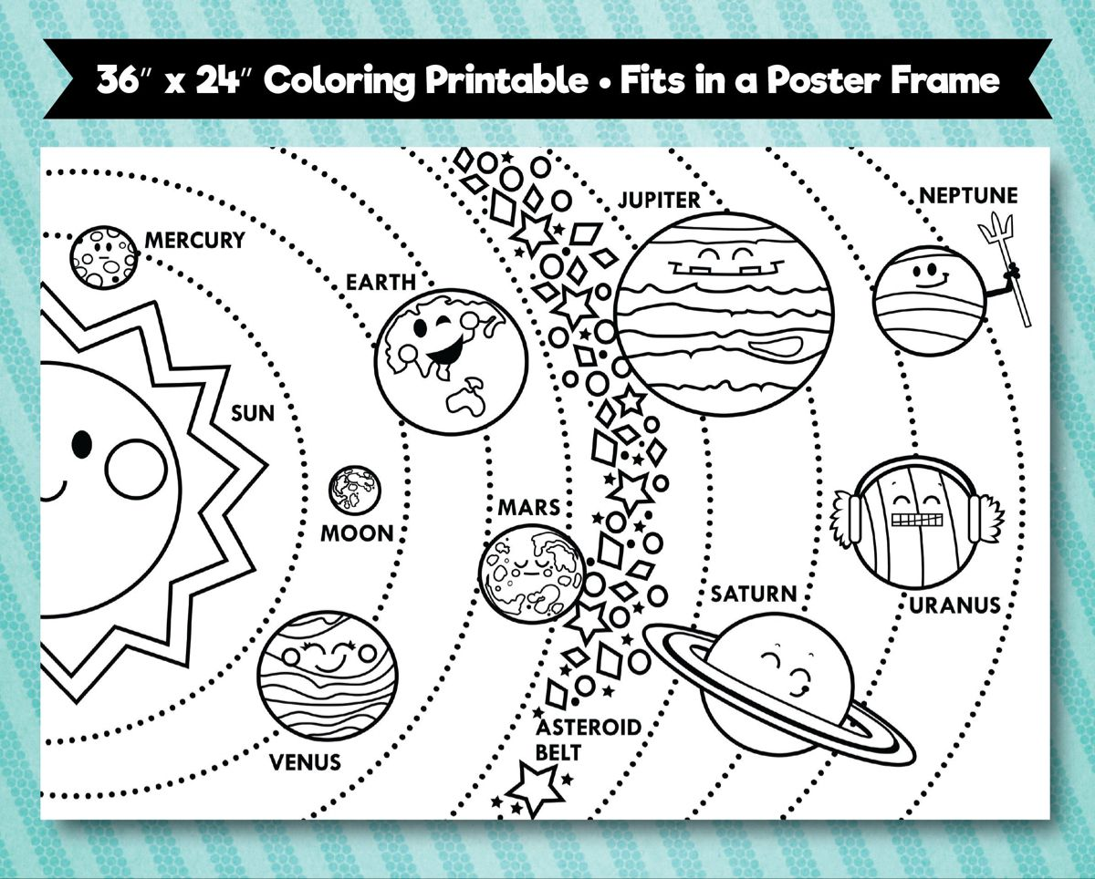 Solar System Printable 36 X24 Horizontal Layout Solar System For Kids Solar System Crafts Solar System Coloring Pages