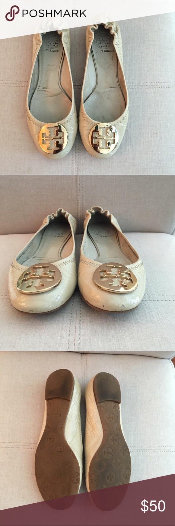 Tory Burch ballet flat - size 7.5 Nude patent leather ballet flats by Tory Burch. Size 7.5. Tory Burch Shoes Flats & Loafers