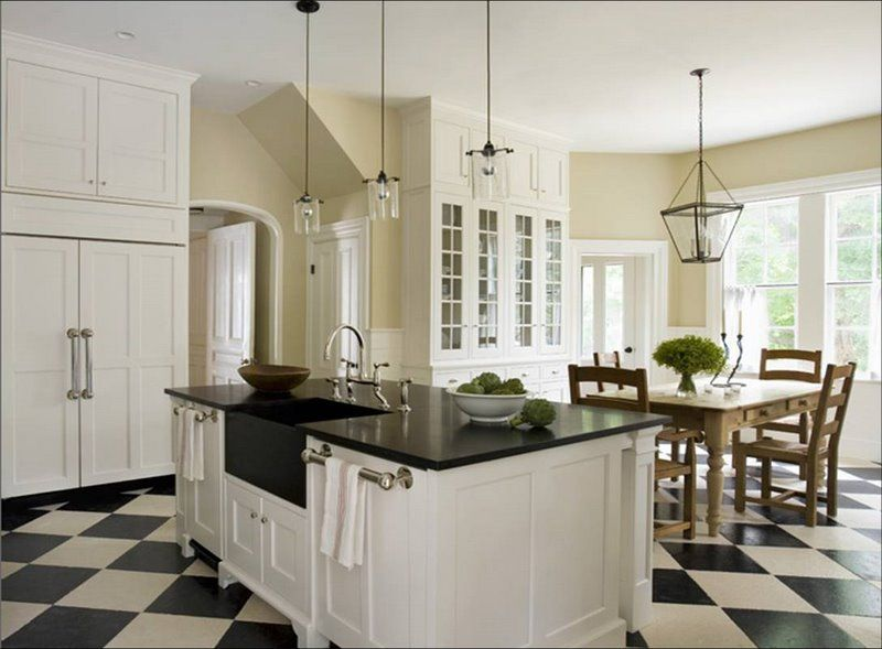 Modern Kitchen Apartment With Black And White Checkered Floor (680×452)    Casa LA   Pinterest   Checkerboard Floor, Kitchens And White Wood
