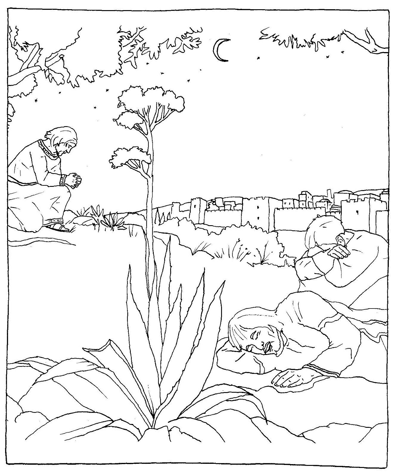 Jesus Praying In The Garden Of Gethsemane Catholic Coloring Page