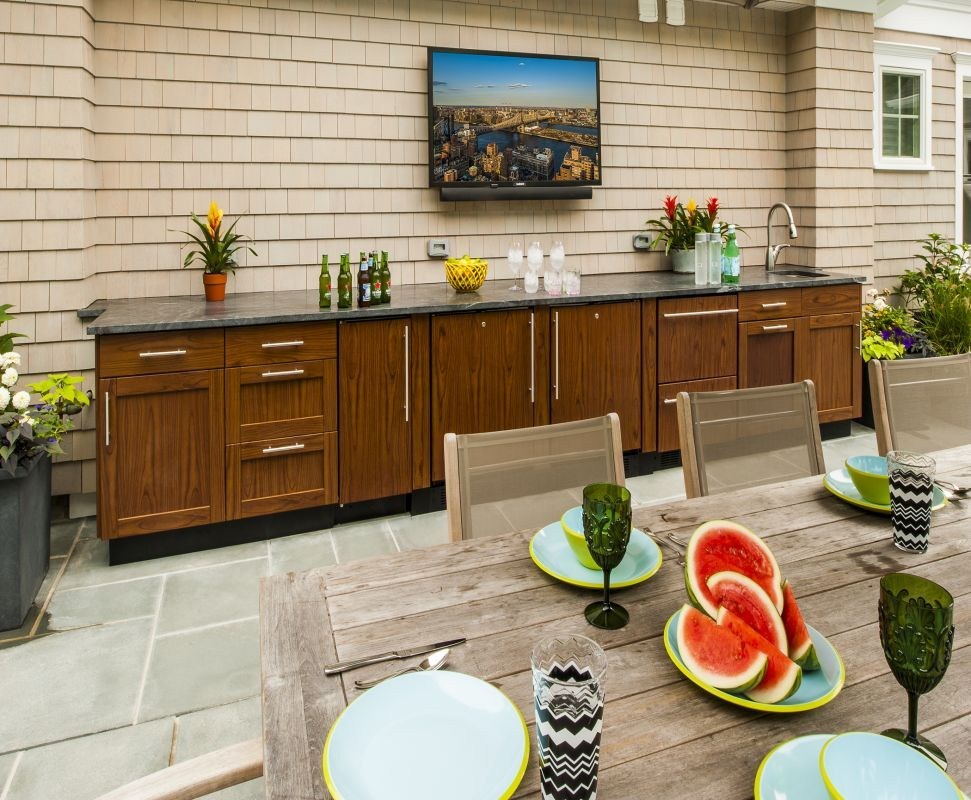 design credit atlantic outdoor no outdoor kitchen is complete without a tv danver outdoor on outdoor kitchen tv id=47828