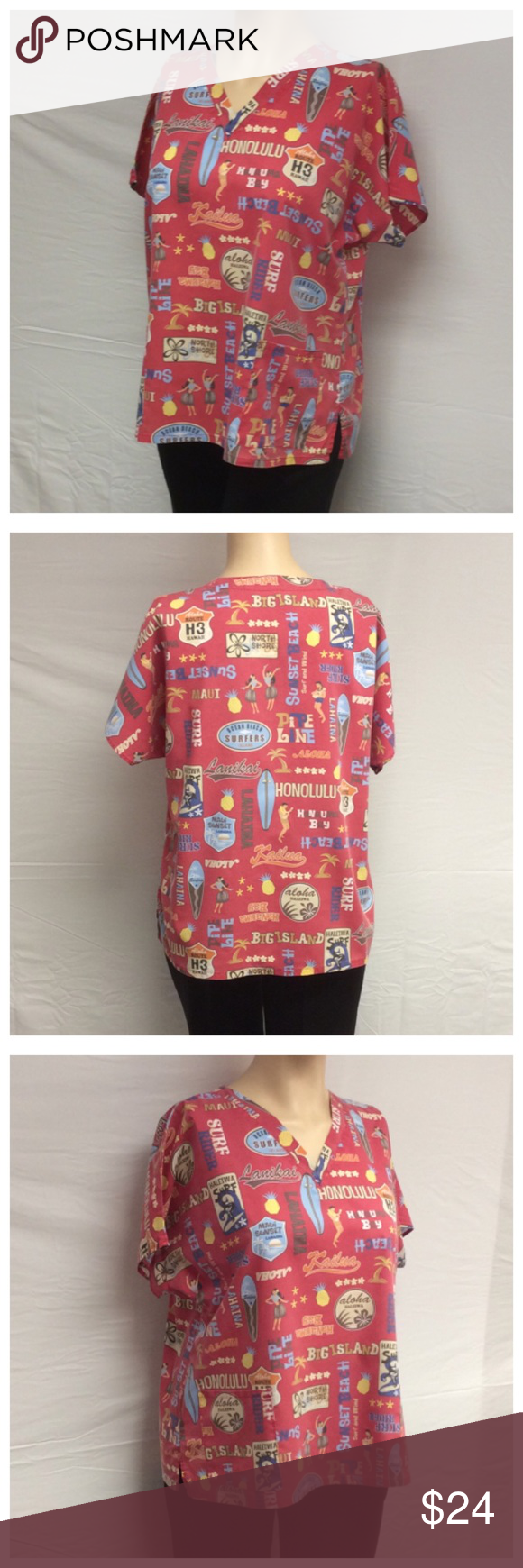 """SEW HAPPY V-NECK SCRUBS SEW HAPPY V-NECK SCRUBS, Size 3XL, 65% polyester, 35% cotton, machine wash. Front pockets, made in Hawaii. Approximate measurements are 26 1/2"""" bust laying flat, 29 1/2"""" shoulder to hem, 3 1/2"""" slits on each side. 0527 Sew Happy Tops"""