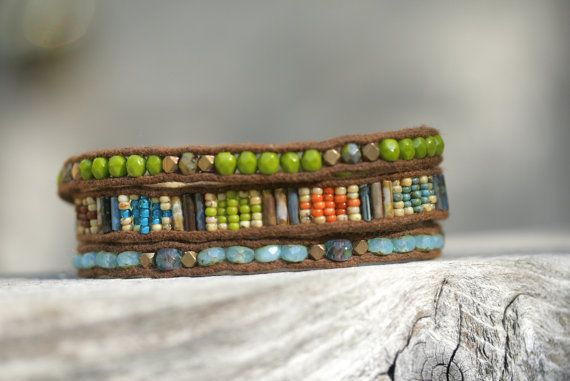 Wrap Bracelet in sky blue and olive green.