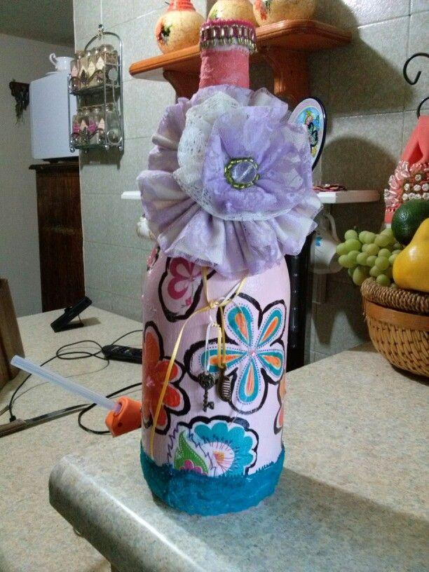 botella decorada flor hecha a mano