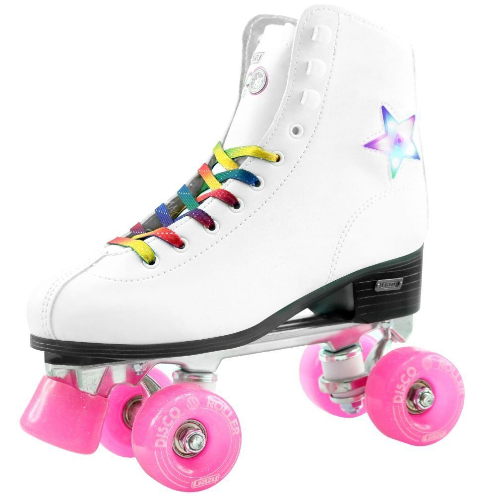 Disco Light Up Star Roller Skates White Glitter Rainbow Laces Glitter Toe Stops And A Colorful Led Star Inlaid Into Th Melhores Patins Patins 4 Rodas Patins