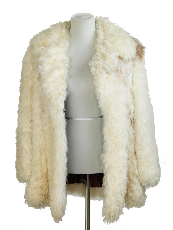 0c7482deecd Rock Star Vintage Genuine Curly Lamb Shearling Wool Fur Coat by Hudson s Sz  M   L Womens or S   M Me