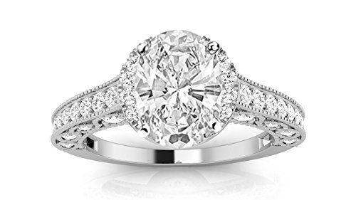 1.5 Carat GIA Certified Oval Cut Vintage Designer Diamond Engagement Ring (G-H Color VVS1-VVS2 Clarity)...