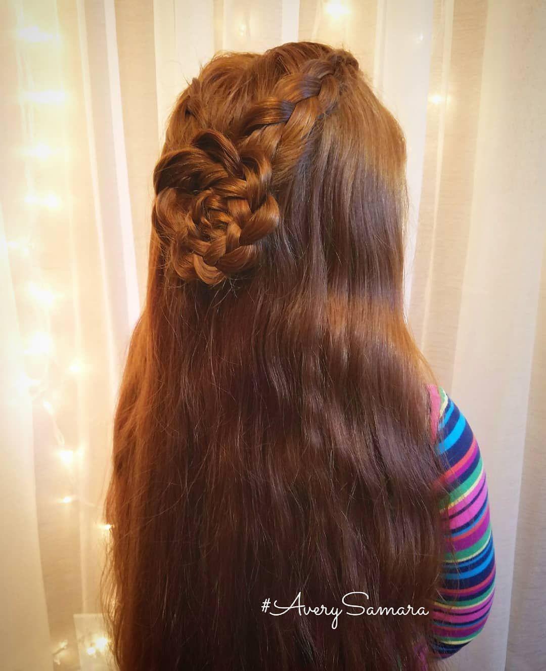 Lace braid rosette in hair wedding hair flower girl hair