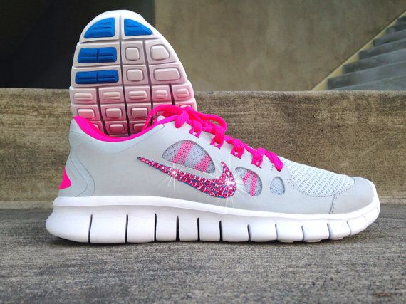 991c203be2ca9 New In Box Women s Nike Free Run 5.0 Running Shoes 580565-046 with  Customized Rose Pink Swarovski Crystal Swoosh PInk Grey Blue