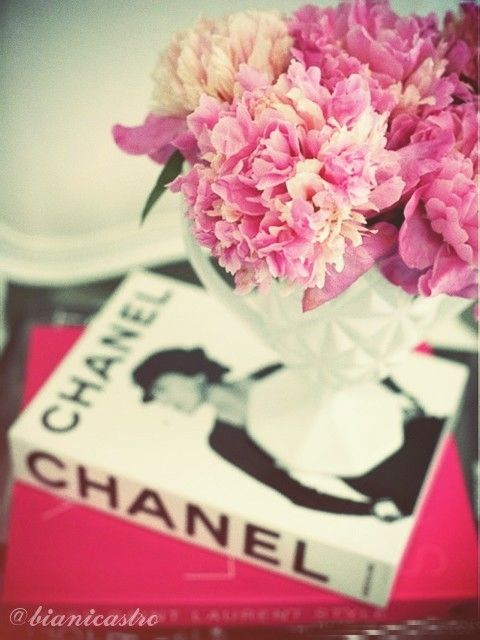 Pretty Pink Flowers On A Chanel Coffee Table Book