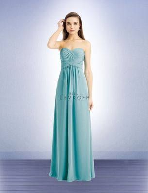 Bill Levkoff Bridesmaid Style 741 is a Chiffon strapless gown with a sweetheart neckline. Criss-cross pleats and gathers shape the bodice.