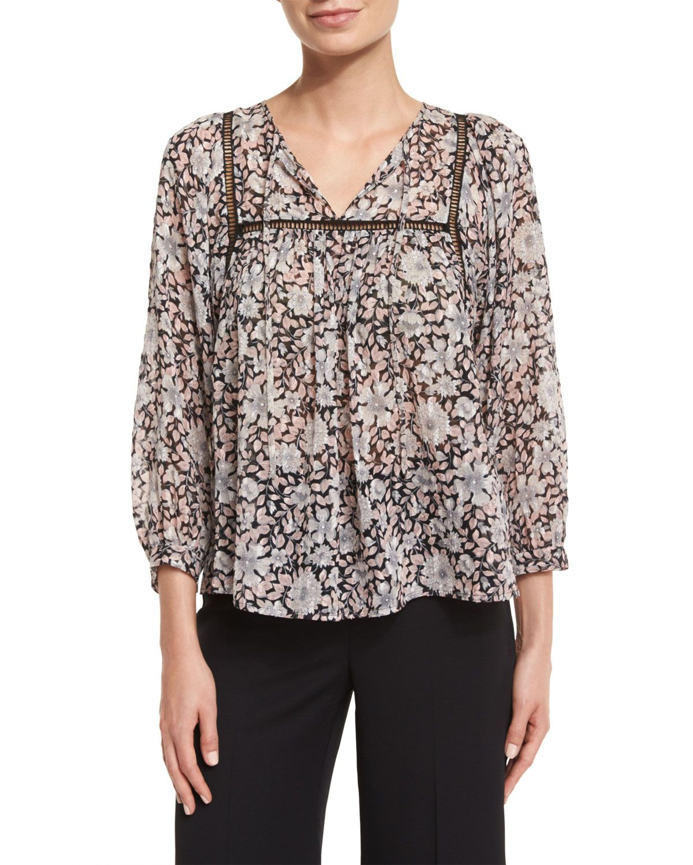 02b53fc979df3 Lindsay 3 4-Sleeve Floral Silk-Blend Top
