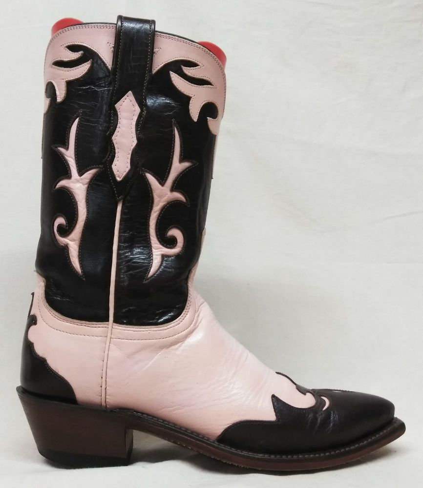 376bbb71ce3 Lucchese 1883 Size 6.5 B Womens Overlay Pink Brown Cowboy Western ...
