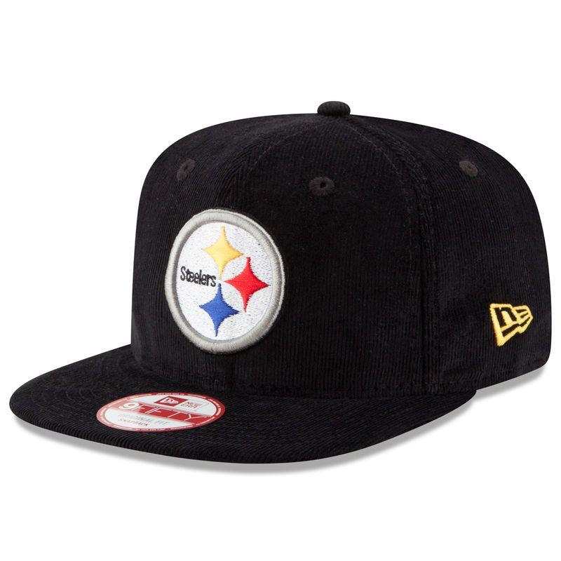 ac0c9cc3541 Pittsburgh Steelers New Era Vintage Corduroy Original Fit 9FIFTY Snapback  Adjustable Hat - Black