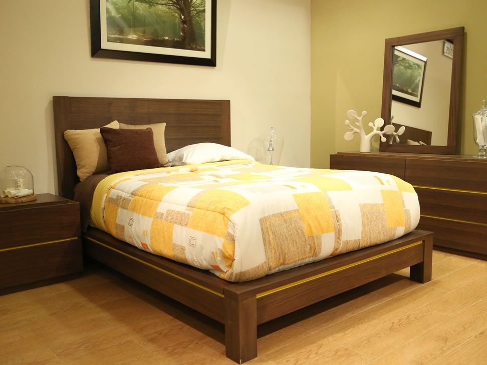 cama matrimonial trendy caf oscuro con amarillo biko