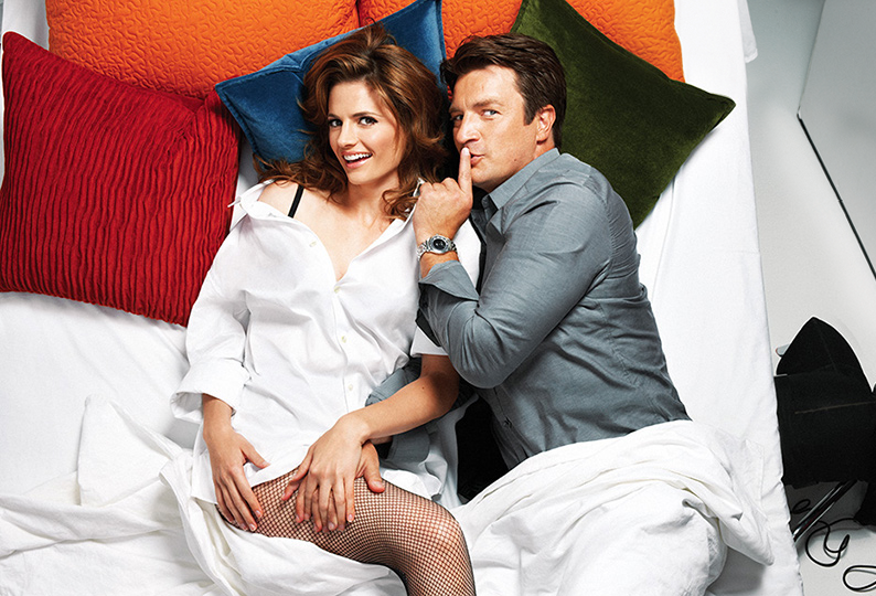 stana katic and nathan fillion in new castle photo shoot