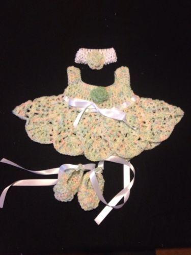 MiC Crafts Handmade Crochet Baby Set 3Pc Dress Headband Booties Delicate Flowers