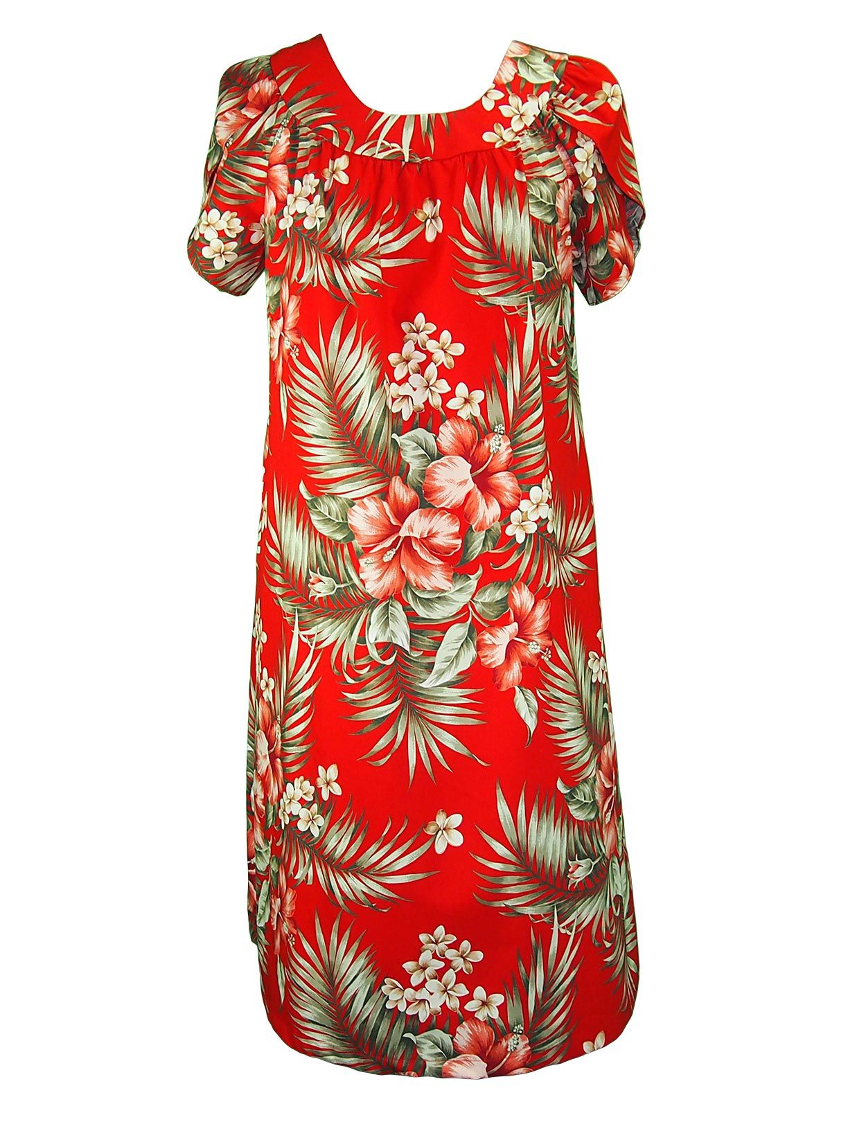 Short Cotton Muumuu Pullover Hibiscus Plumeria: Shaka Time Hawaii ...