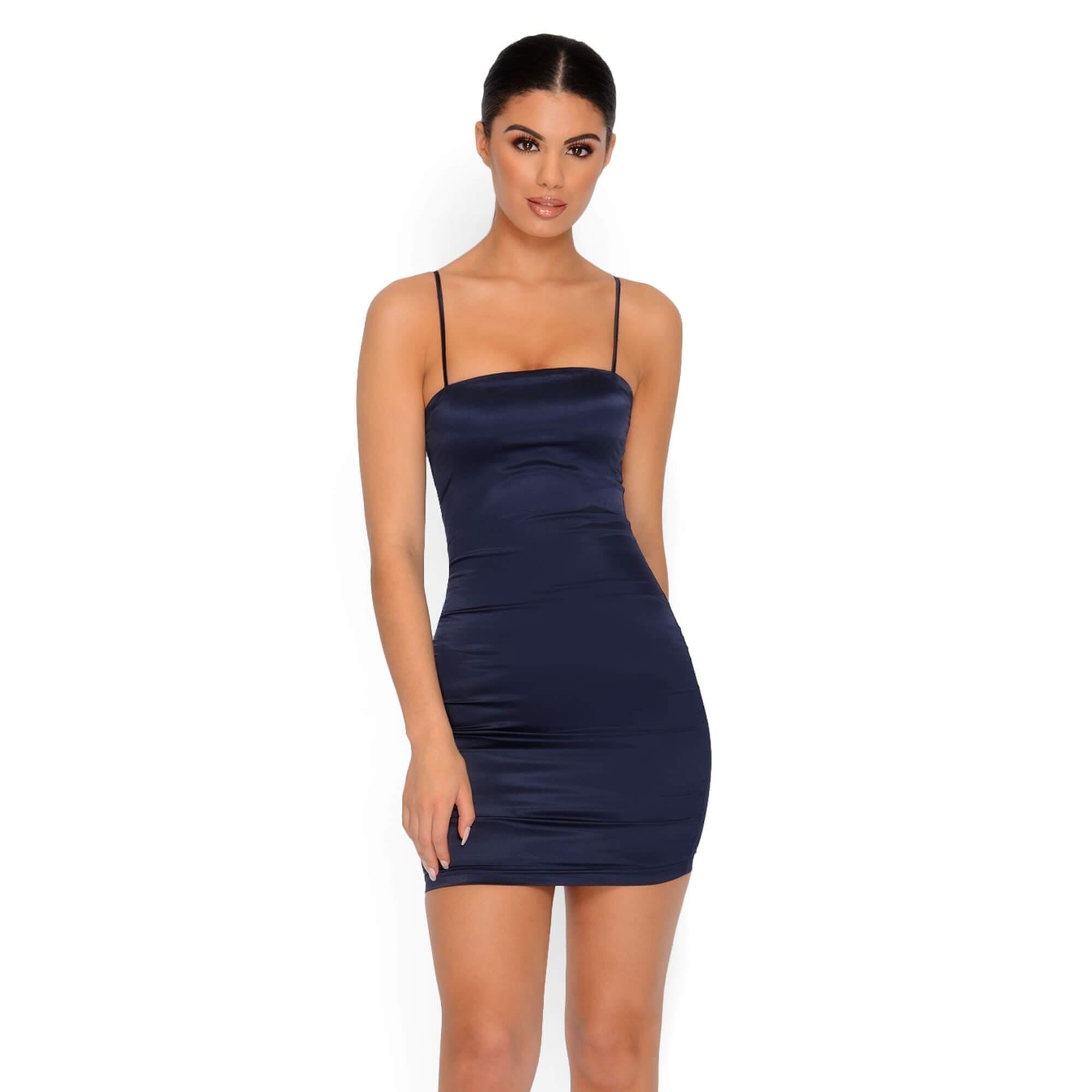 f12bb06a11 Satin Mini Dress with Thin Straps - Main