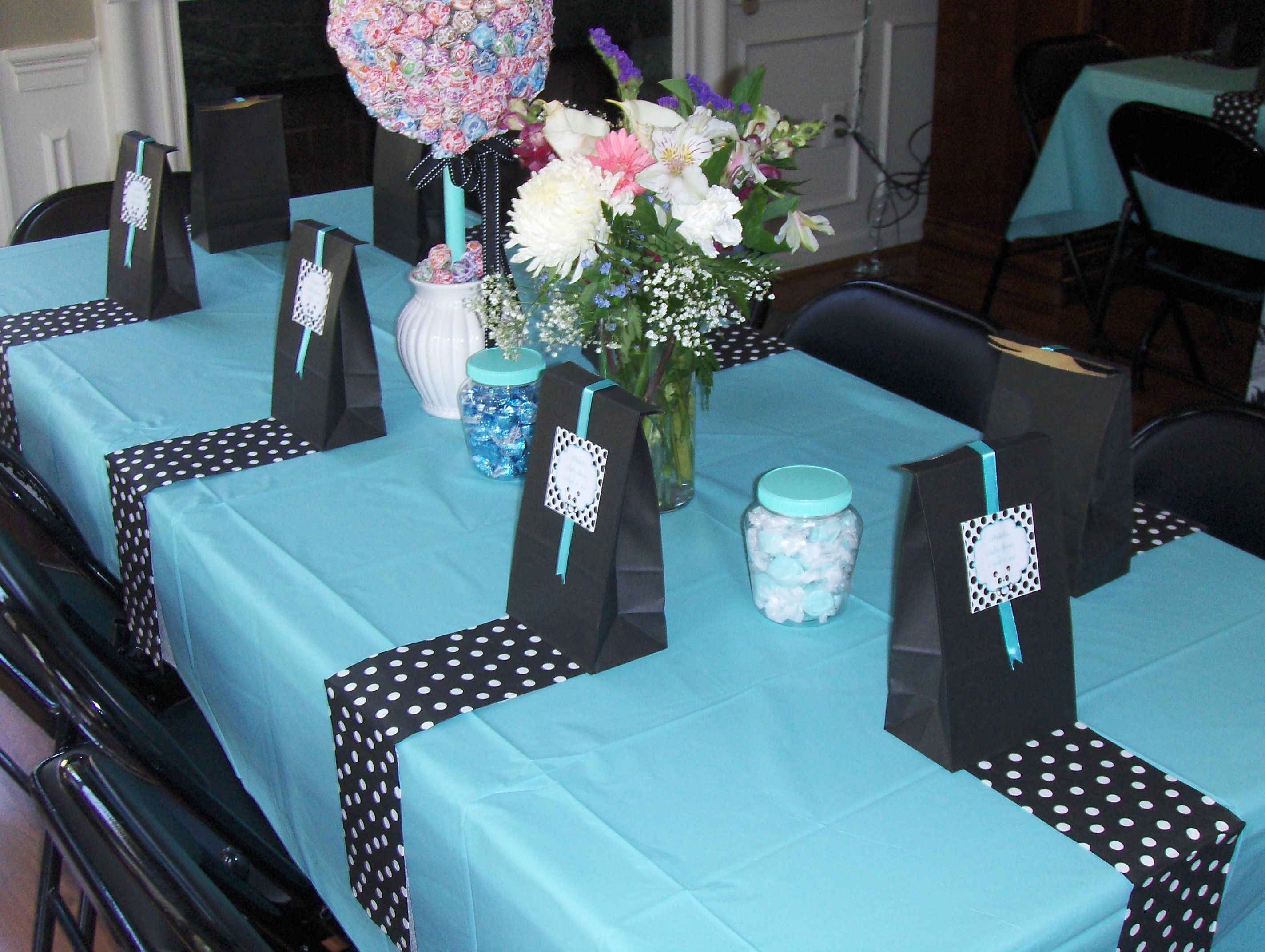 Tiffany blue black and white tables from Michele s baby shower