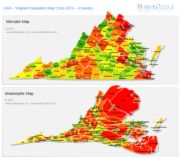 US Virginia Map County Population Density USA VA Map Editable - Va map